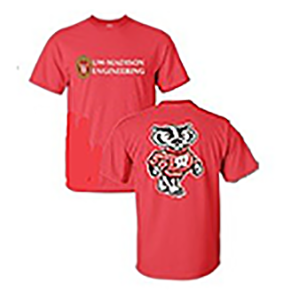 Red t-shirt, College of Engineering logo on front and Bucky Badger on the back.
